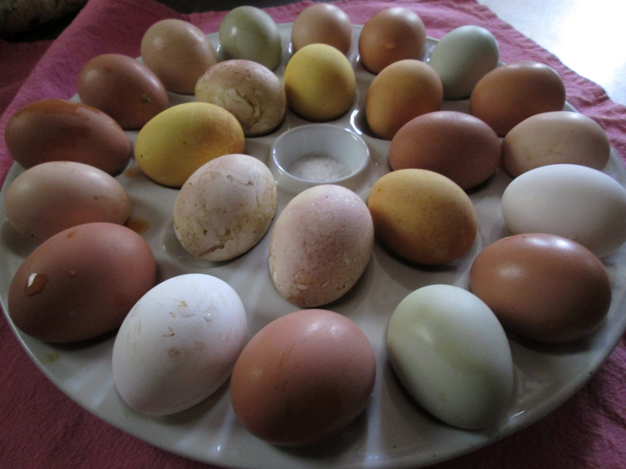 Here are those Eostre eggs, naturally hued and naturally dyed- beets and turmeric are almost as pretty as easter-egger green and the various browns and tans