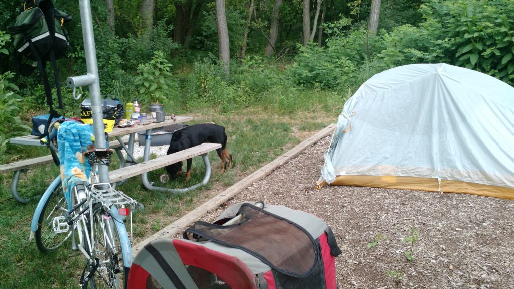 Big Agnes ultralight tent, DoggyRide trailer, Camp Shabbona Woods